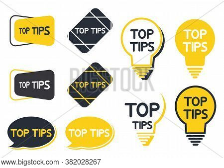 Top Tip Icon Set. Yellow Lightbulb Icons With Top Tips Text Inside. Quick Tips, Helpful Tricks, Embl