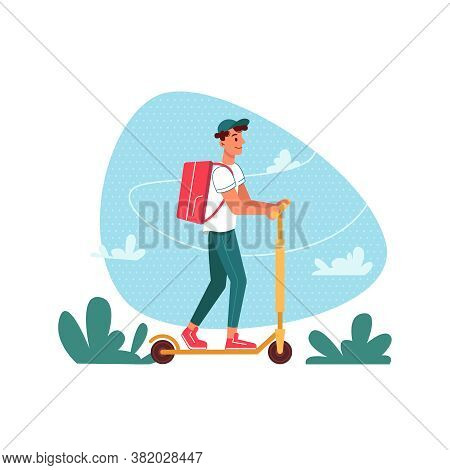 Delivery Courier On Scooter With Parcel, Delivering Express Order, Vector Flat Cartoon Isolated. Cou