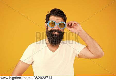 Summer Vacation. Ultraviolet Protection Concept. Man Eyewear Model. Handsome Guy Wear Sunglasses. Hi