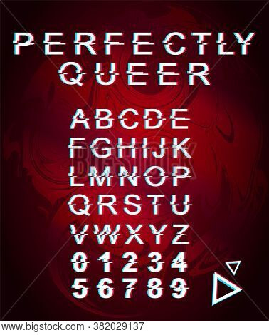 Perfectly Queer Font Template. Retro Futuristic Style Vector Alphabet Set On Red Marbling Background