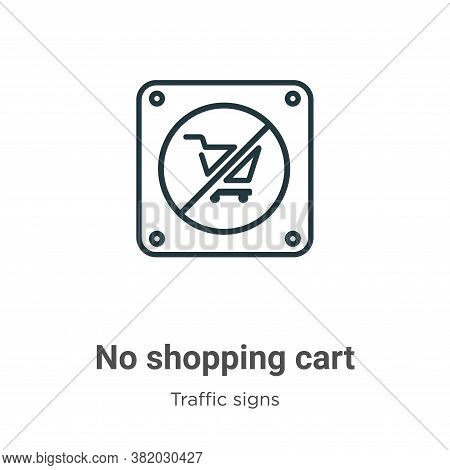 No shopping cart icon isolated on white background from traffic signs collection. No shopping cart i