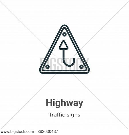 Highway icon isolated on white background from traffic signs collection. Highway icon trendy and mod