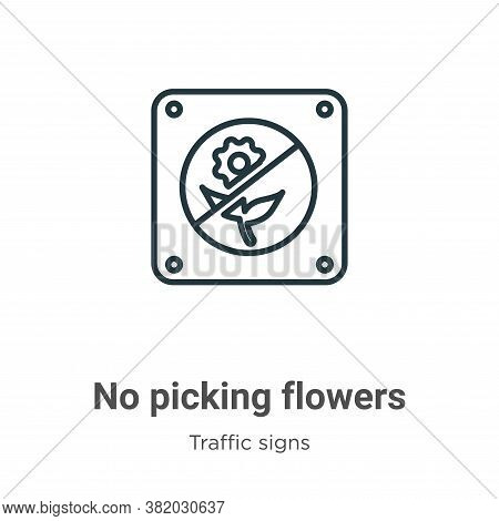 No picking flowers icon isolated on white background from traffic signs collection. No picking flowe
