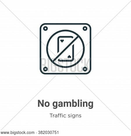 No gambling icon isolated on white background from traffic signs collection. No gambling icon trendy