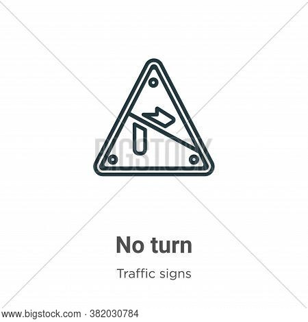 No turn icon isolated on white background from traffic signs collection. No turn icon trendy and mod