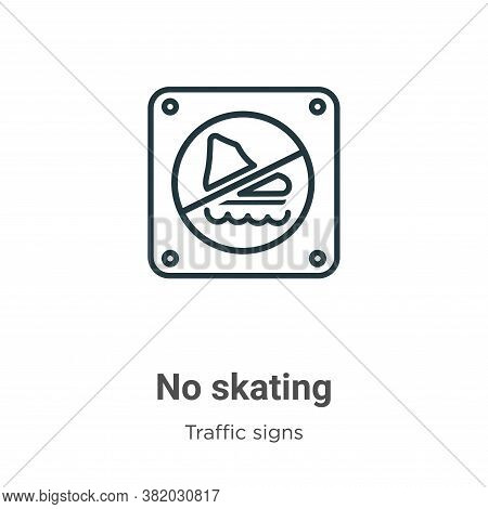No skating icon isolated on white background from traffic signs collection. No skating icon trendy a