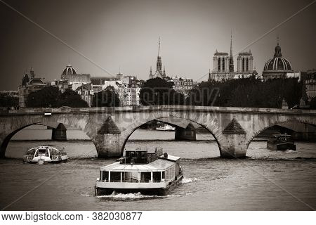 Paris River Seine with bridge and historical architecture
