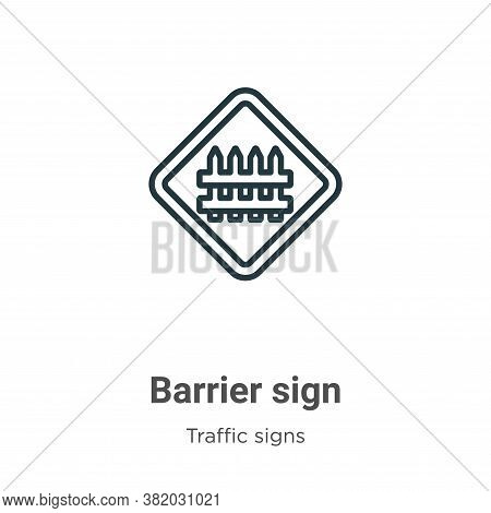 Barrier sign icon isolated on white background from traffic signs collection. Barrier sign icon tren