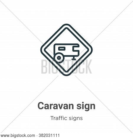 Caravan sign icon isolated on white background from traffic signs collection. Caravan sign icon tren