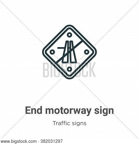 End motorway sign icon isolated on white background from traffic signs collection. End motorway sign