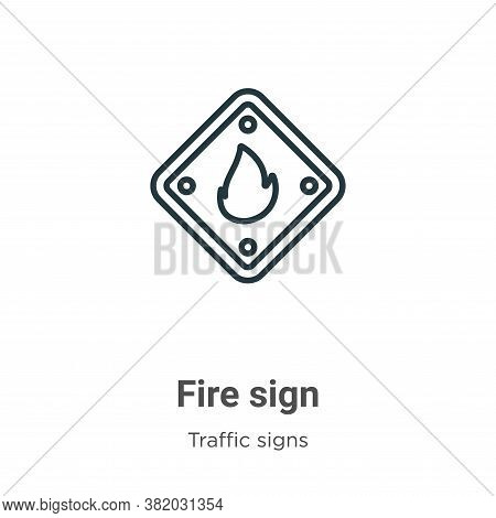 Fire sign icon isolated on white background from traffic signs collection. Fire sign icon trendy and