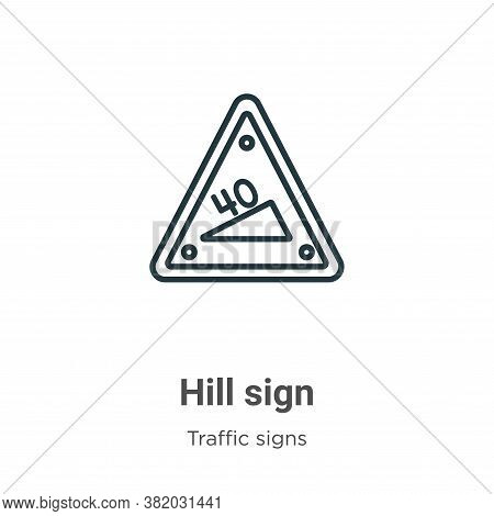 Hill sign icon isolated on white background from traffic signs collection. Hill sign icon trendy and