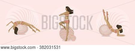 Girls Goes In For Sports On Gymnastic Balls. Aerobics On Fit-ball.  Healthy Lifestyle, Home Or Fitne