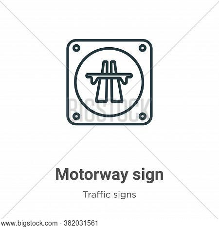 Motorway sign icon isolated on white background from traffic signs collection. Motorway sign icon tr