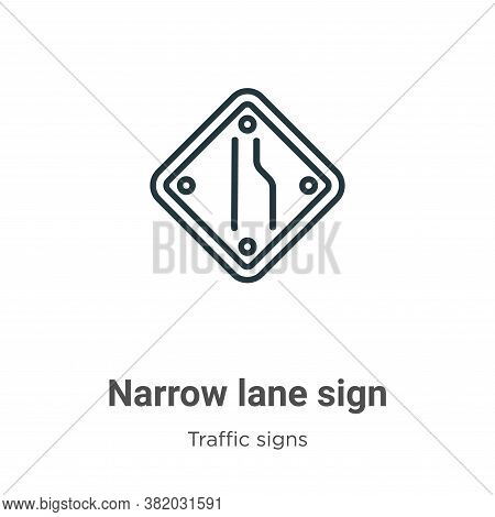 Narrow lane sign icon isolated on white background from traffic signs collection. Narrow lane sign i
