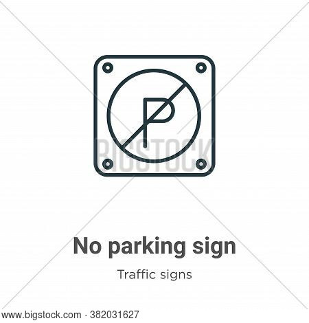 No parking sign icon isolated on white background from traffic signs collection. No parking sign ico