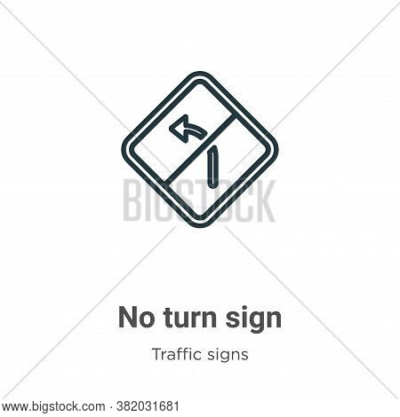 No turn sign icon isolated on white background from traffic signs collection. No turn sign icon tren