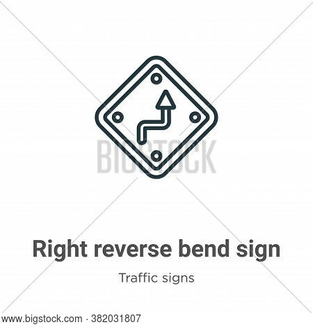 Right reverse bend sign icon isolated on white background from traffic signs collection. Right rever