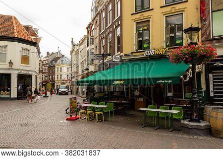 Utrecht, The Netherlands - 29 Jun, 2020: Subway Shop In A Shopping Street In Utrecht. Subway Is A Pl