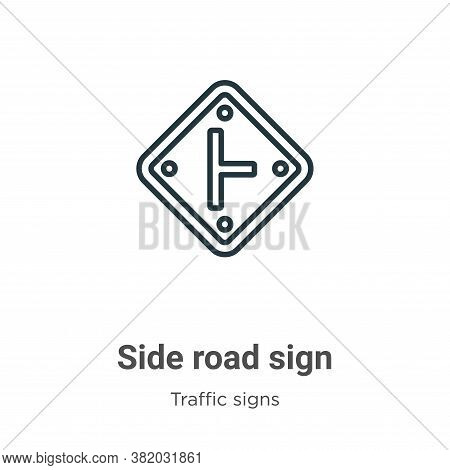 Side road sign icon isolated on white background from traffic signs collection. Side road sign icon