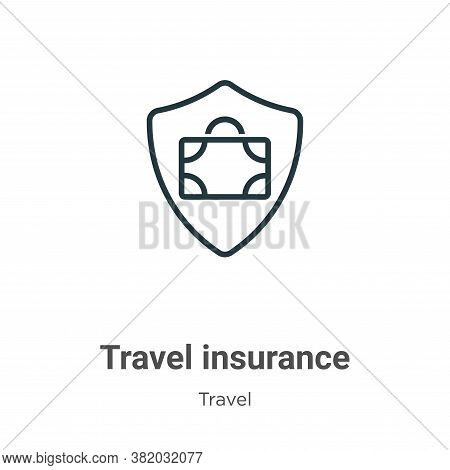 Travel insurance icon isolated on white background from travel collection. Travel insurance icon tre