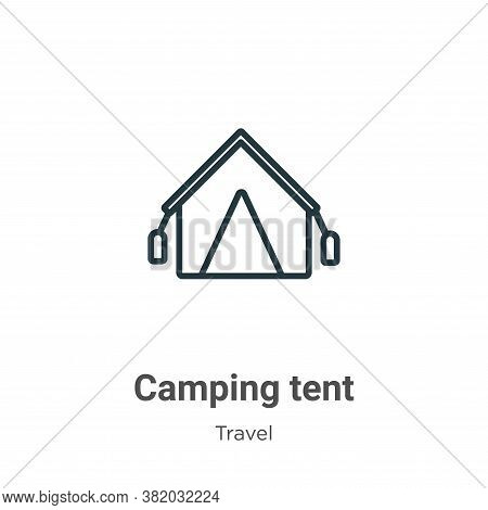 Camping tent icon isolated on white background from travel collection. Camping tent icon trendy and