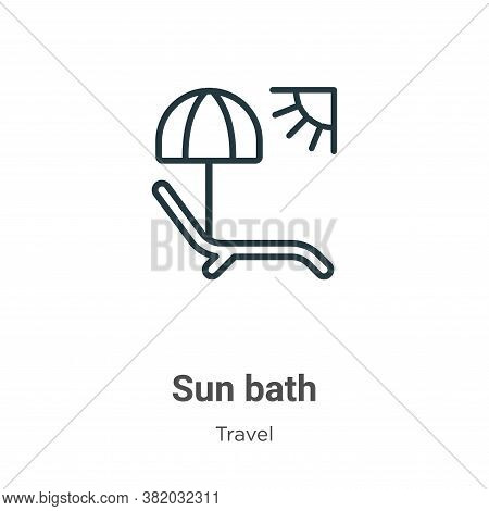 Sun bath icon isolated on white background from travel collection. Sun bath icon trendy and modern S