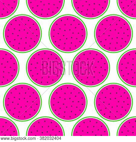 Watermelons Seamless Pattern. Pink Pulp, Black Seeds And Green Rind. Vector Illustration.