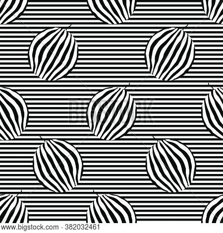 Watermelons Striped Seamless Pattern. Striped Rind On The Striped Background. Black And White Vector
