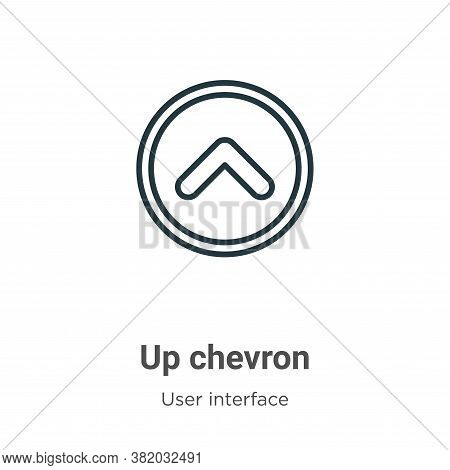 Up chevron icon isolated on white background from user interface collection. Up chevron icon trendy
