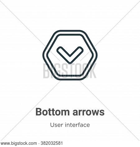 Bottom arrows icon isolated on white background from user interface collection. Bottom arrows icon t
