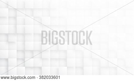 Rendered 3d Blocks Minimalist White Abstract Background. Three Dimensional Science Technologic Tetra