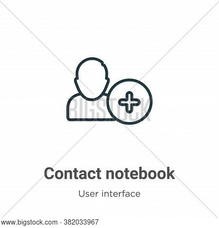 Contact notebook icon isolated on white background from user interface collection. Contact notebook