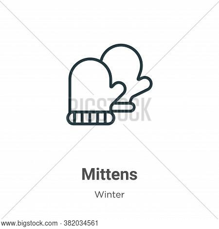 Mittens icon isolated on white background from winter collection. Mittens icon trendy and modern Mit