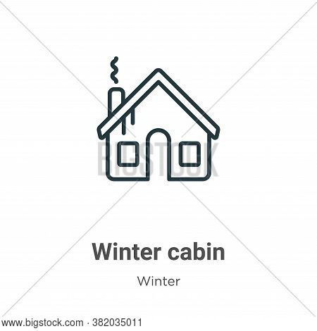 Winter cabin icon isolated on white background from winter collection. Winter cabin icon trendy and