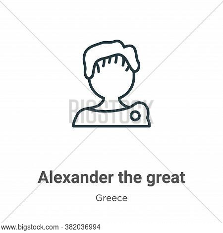 Alexander the great icon isolated on white background from greece collection. Alexander the great ic