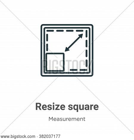 Resize square icon isolated on white background from measurement collection. Resize square icon tren