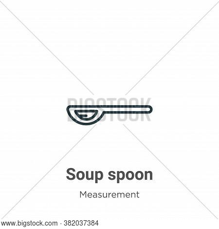 Soup spoon icon isolated on white background from measurement collection. Soup spoon icon trendy and