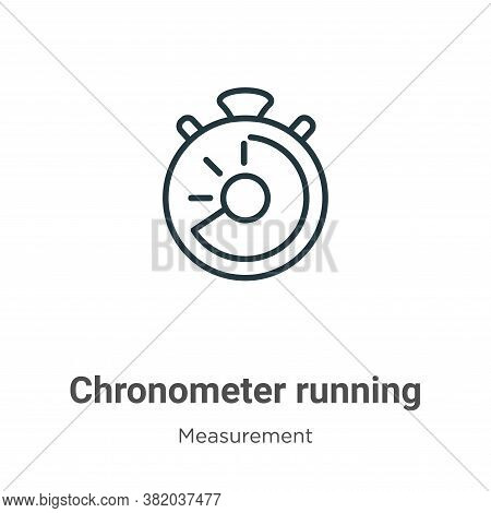 Chronometer running icon isolated on white background from measurement collection. Chronometer runni