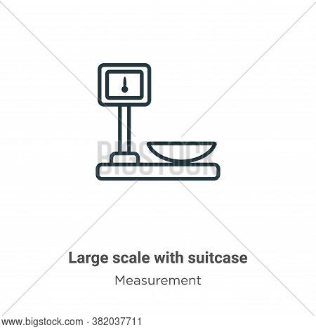 Large scale with suitcase icon isolated on white background from measurement collection. Large scale