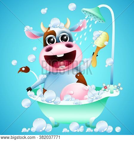 Funny Cartoon Emotion Cow Washes In The Shower With Soap Bubbles