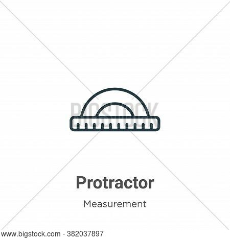 Protractor icon isolated on white background from measurement collection. Protractor icon trendy and