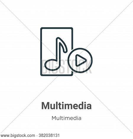 Multimedia icon isolated on white background from multimedia collection. Multimedia icon trendy and
