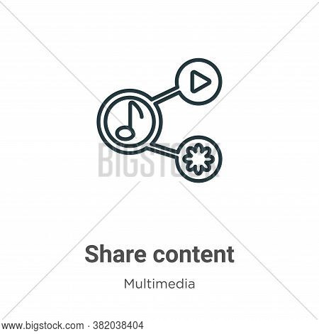 Share content icon isolated on white background from multimedia collection. Share content icon trend