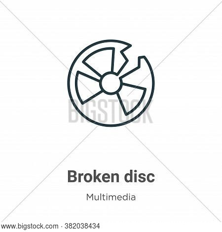 Broken disc icon isolated on white background from multimedia collection. Broken disc icon trendy an