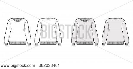 Oversized Cotton-terry Sweatshirt Technical Fashion Illustration With Crew Neckline, Long Sleeves, R