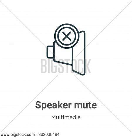 Speaker mute icon isolated on white background from multimedia collection. Speaker mute icon trendy