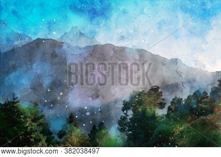 Digital Watercolor Painting Of Mountain In The Morning, Rainy Season Landscape Image