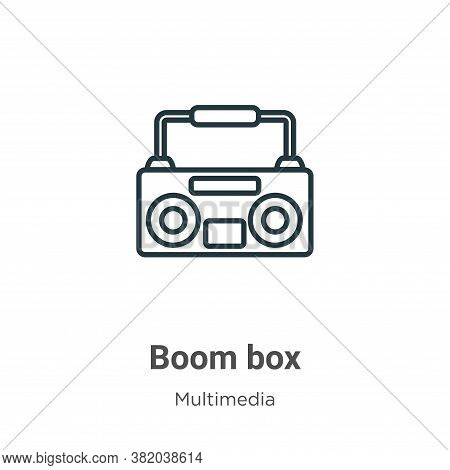 Boom box icon isolated on white background from multimedia collection. Boom box icon trendy and mode