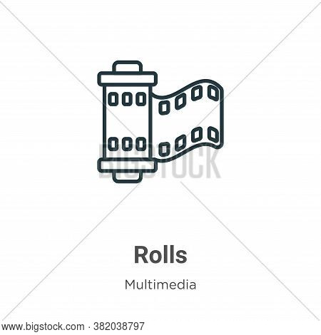 Rolls icon isolated on white background from multimedia collection. Rolls icon trendy and modern Rol